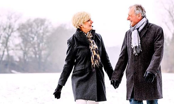 Couple Walking During The Winter